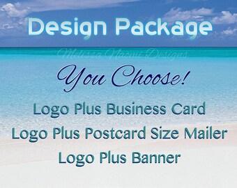 Custom Design Package, Choose Between 3 Packages, Logo Design, Business Card Design, Postcard Mailer Design, Banner Design, OOAK Graphic Art