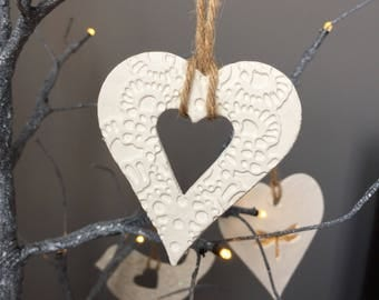 Small white ceramic lace embossed hanging heart decoration