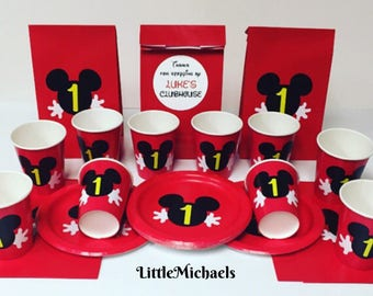Personalized Mickey Mouse Birthday Party Package, Mickey Mouse Birthday, Mickey Mouse Cups, Plates, Favor Bags, Mickey Mouse Clubhouse