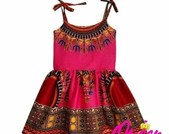 Pink Girls Dashiki Sundress
