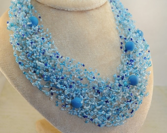 Blue beaded necklace jewelry  beads necklace bead crochet necklace elegant necklace with beads gift for her crochet handmade rope Statement