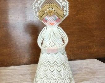 Vintage Handmade Angel Plastic Canvas Needlepoint Christmas Tree Topper Decoration