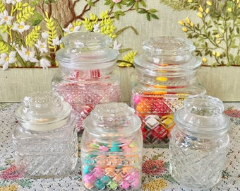 Kitchen Canisters Glass Jars Glass Canisters Apothecary Jars Lidded Jars Candy Jars Kitchen Storage Candy Bar Dessert Table Candy Buffet