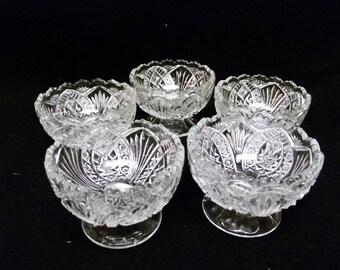 Beautiful Vintage Pressed Cut Glass Sorbet Glasses set of 5