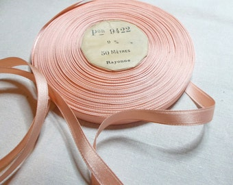 50 metre Roll of 9mm Vintage French Ribbon, New Old Stock, Mid Century, Peach Rayonne.