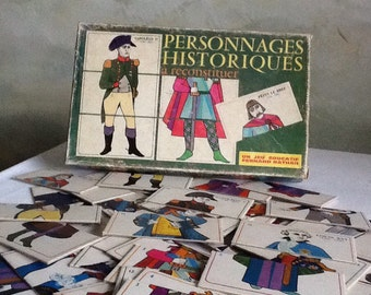 Free postage. French vintage game. Characters from French history. Childrens game with historical french figures. Learn french history.
