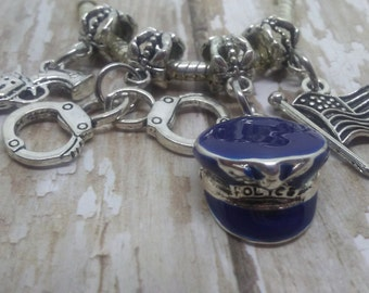 Police Charms, Pandora style charms, Police Hat,Handcuffs,Gun, Fits Chamilia, Biagi charm bracelet