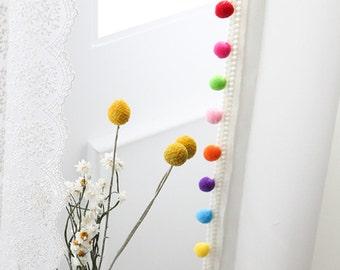 Adorable Pom Pom White Curtain Drapery Panel