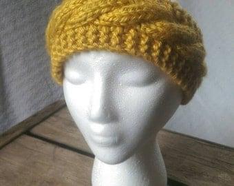Mustard Yellow Chunky Cable Knit Ear Warmer Headband