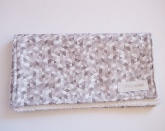 Grey & White Triangles Burp Cloth