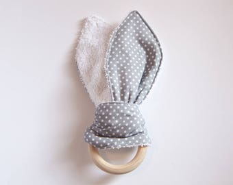 Grey Spotted Teether - fabric and wood teething ring