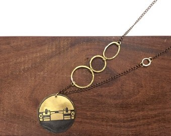 Burnside Bridge Necklace, Made in Oregon, Bridges of Portland, Brass Etched Necklace, Long Handmade Chain Necklace