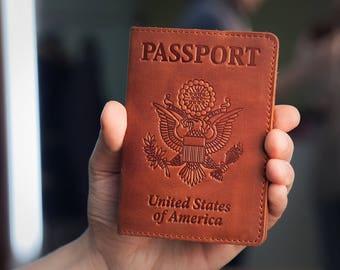 Passport Holder - Passport Cover - Brown Leather Passport Case