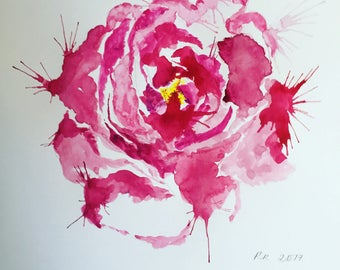 Pink Peony Watercolour Print