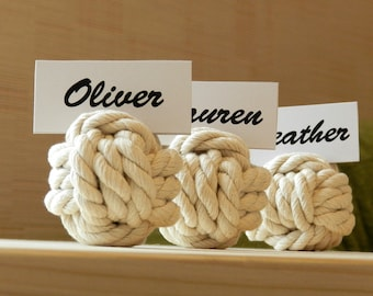 3/6/12/15/20 Place Card Holders/Cotton Rope Table Card Holders/Beach Party Knots/Monkey's Fist Knot/Nautical Wedding/Table Card Holder