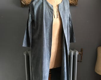Antique French grey tie dye cotton linen metis housecoat dressing gown initials MV size M