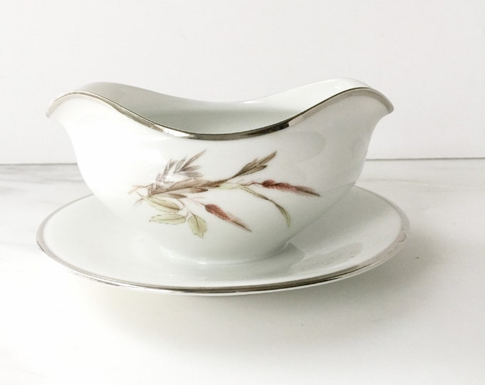 Mid Century Gravy Boat with Attached Stand by Grace China in the Lady Diana Pattern