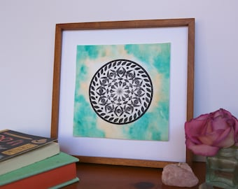 Hand Painted and Stamped Mandala