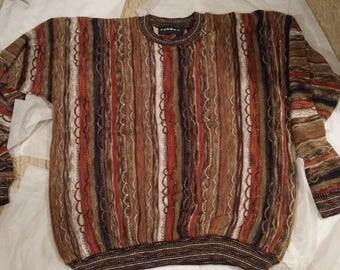 Tundra Men's Sweater Size Large-Brown, Tan, Orange, White