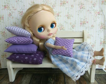 BLYTHE PILLOW SET. 5 small Extra pillow cushion for doll Blythe Barbie. For diorama doll bedding Great gift. Polka dot Flowers Violet purple