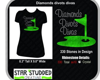 Golf Tournament Shirt DIAMONDS DIVOTS DIVAS Rhinestone shirt Bling Bling Bling on the tee!!!