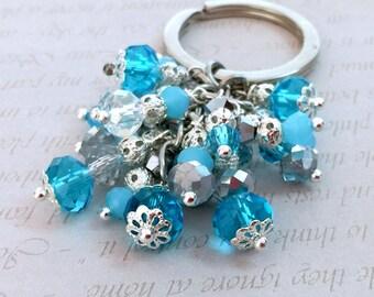 Blue crystals keychain, Blue keychain, Purple zipper pull, Elegant keychain, Blue bag, Handbag accessories, Silver keychain