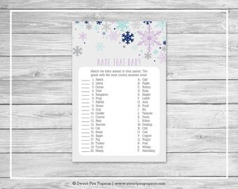Winter Baby Shower Name That Baby Game - Printable Baby Shower Name That Baby Game - Baby It's Cold Outside Baby Shower - Baby Game - SP143