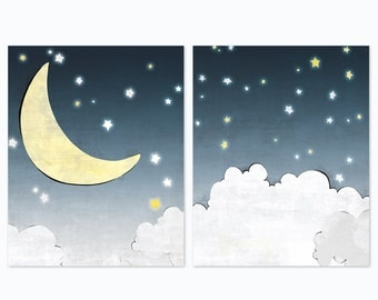 Moon and Stars Nursery Print - Set of 2