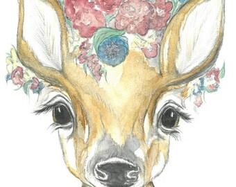 Fawn Watercolour Print, Fawn Watercolor Nursery Print, Deer Nursery Print, Deer watercolour print, Deer Nursery Art, Fawn Watercolour Art