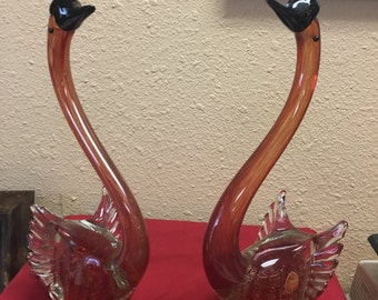 Pair of Matching Murano Swans
