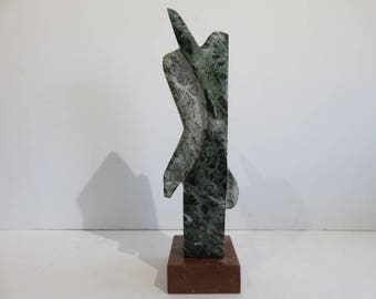 Mid-Century Modern Carved Abstract Mixed Marble Sculpture, Signed.