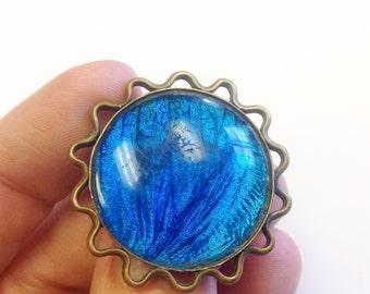 Vintage, Art Deco, blue morpho butterfly wing brooch.
