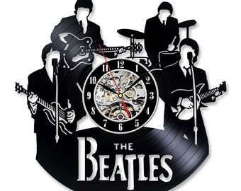 Vinyl record wall clock, Beatles wall clock, 70's home decor, home decorations, 70's, vinyl records, records, Beatles, Beatles pictures, 60s