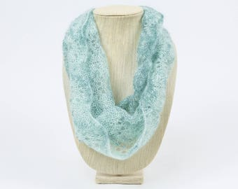 Light Turquoise Lace Hand Knit Cowl/Infinity Scarf