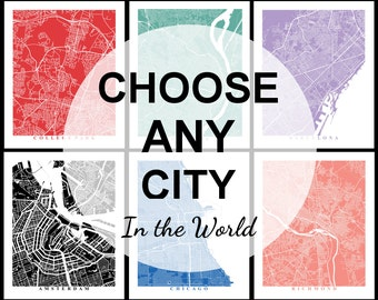 Custom City Map Art - Choose Any City in the World - Travel - City Map - Custom Map - Map Print - Office Decor - Map Poster - World Map
