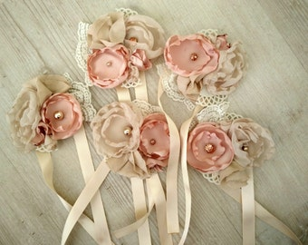 Fabric flower corsage, vintage, shabby chic, blush, neutral, rose gold
