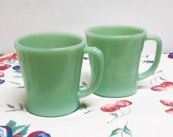 Set of 2 Vintage Fire King Jadeite Jadite D Handle Mugs