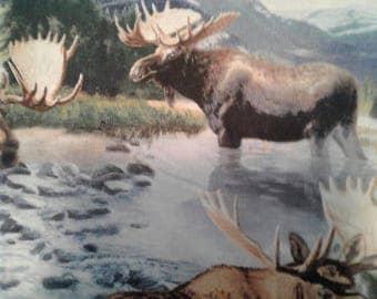 "Valance, Curtain Panel, Matching Pillow "" Moose"""