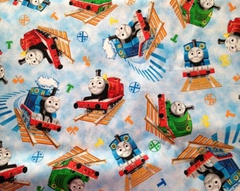 "Valance, Curtain Panel, Matching Pillow ""Thomas the Train"""