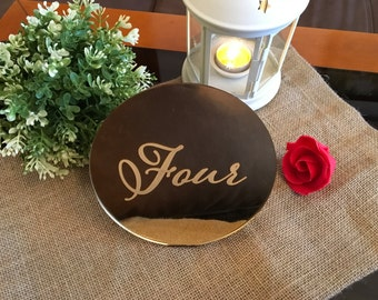 Engraved table numbers, Script wedding table numbers, Wedding reception table numbers, Gold mirror table numbers, Circle table numbers stand