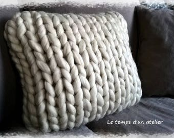 Knitted giant wool cushion