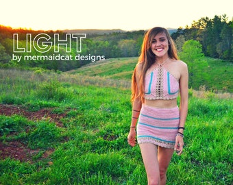 High-waisted crochet mini skirt pattern- light