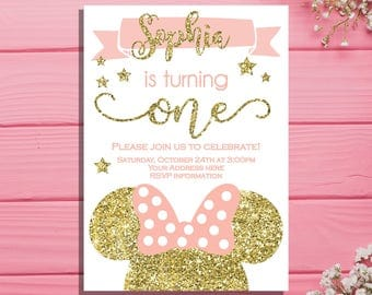 Minnie mouse first birthday invitation - Minnie Birthday party invitation - pink and gold 1st birthday invitation - Minnie mouse birthday