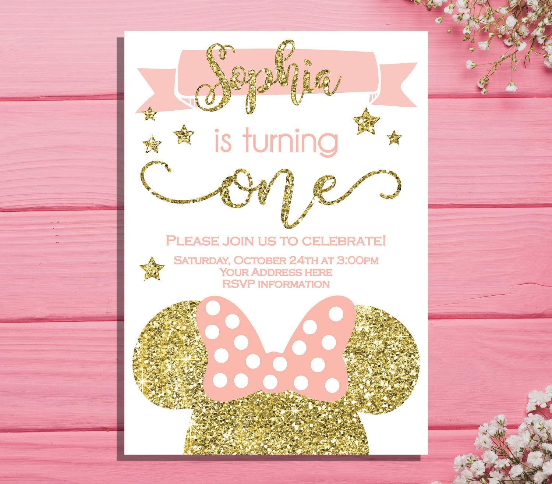 Minnie mouse first birthday invitation Minnie Birthday party – Minnie Mouse Birthday Card