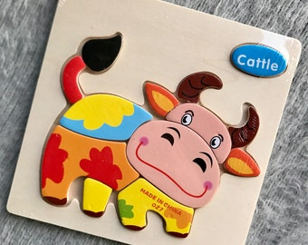 Animal puzzle for kids , Wooden puzzle, Perfect Gift for Kids, Christmas gift