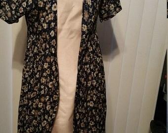 Sheer Cotton Button Down Dress. Navy Blue Floral