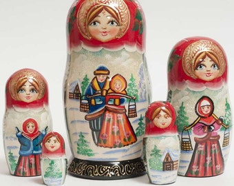 Nesting dolls Russian Winter Time - #96bb