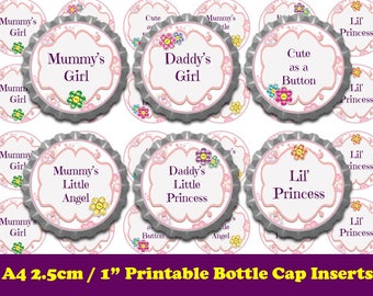 Cute Girly Bottle Cap Images, Bottlecap Image Printables, 1 Inch Bottle Cap Template,  Pink Bottle Cap Collage, Digital Bottle Cap Printable