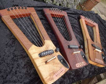 ukulele/saxon electric lyre - unique instrument hand made from reclaimed tonewood