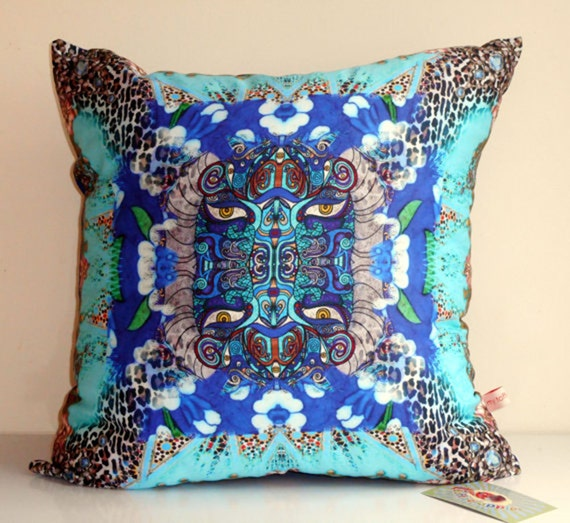 Turquoise oriental decorative pillow covercollage printblue